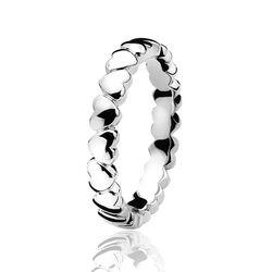 Zilveren ring met hartjes van ZInzi