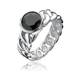 Zilveren ring met zwart zirconia Zinzi zir656