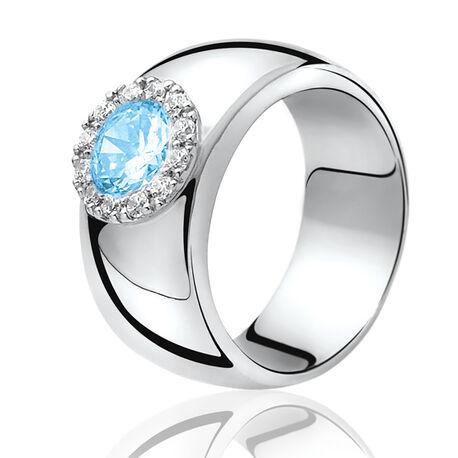Zilveren ring met ronde lichtblauw zirconia ZIR665b Zinzi