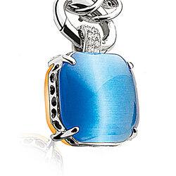 Zilver hanger blauw en oranje ZIH667b
