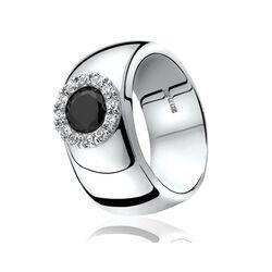 Zinzi ring rond zwart zirconia Zir665z