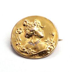Art Nouveau gouden broche diamantjes
