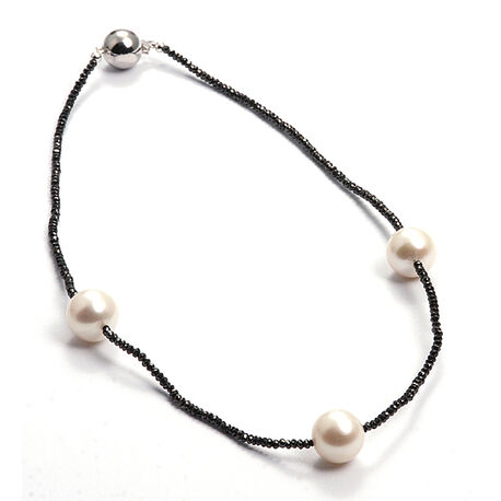 Zwart diamanten collier met parels