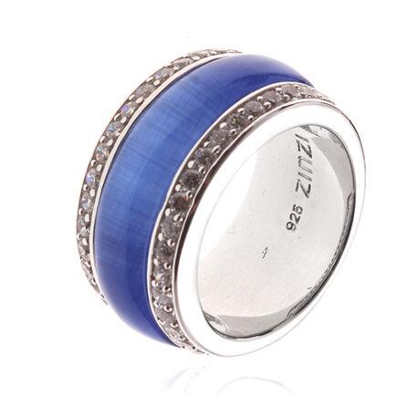 Zilveren ring blauw met wit zirconia Zir615b