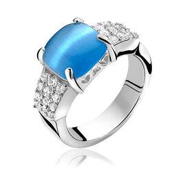 Zilver ring helderblauwe steen zir667b Zinzi