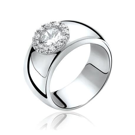 Brede zilveren ring met rond zirkonia ZIR665 Zinzi
