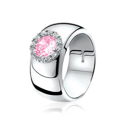 Zinzi ring breed met roze zirconia Zir665r