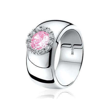 Brede zilveren ring met roze zirconia Zinzi ZIR665r