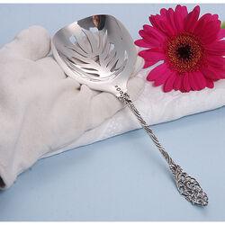 Zilver natfruitlepel met opengewerkte steel