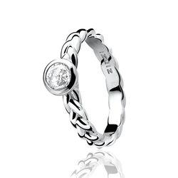 Zinzi ring gevlochten met zirconia Zir602w