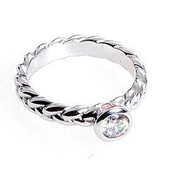 Gevlochten ring met zirconia ZIR602w Zinzi