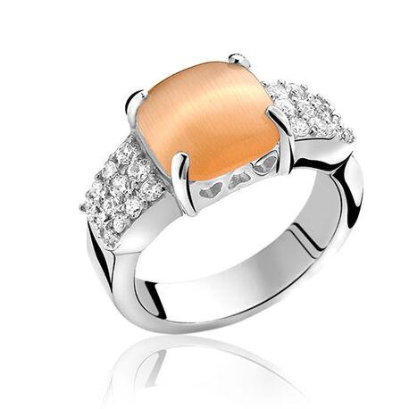 Zilveren ring Zinzi met oranje steen zir667k