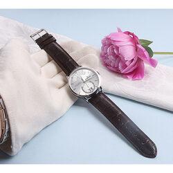 Donkerbruin leren Edox horloge Les Vauberts