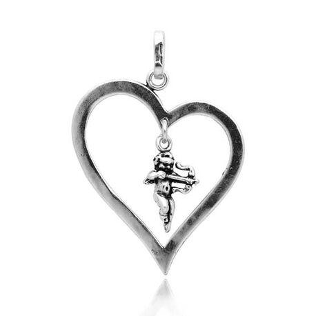 zilveren hanger hart met cupido