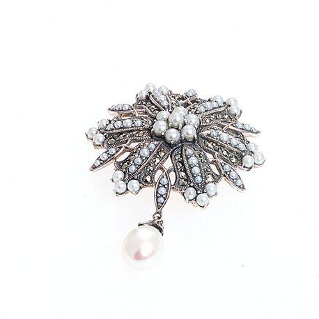 Zilveren hanger broche pareltjes en markasiet