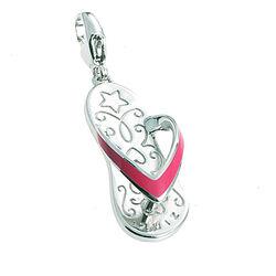 Zinzi zilveren bedel slipper roze Ch278