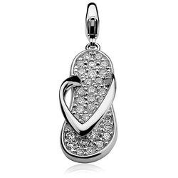 Zinzi charms280 zilveren slipper zirkonia