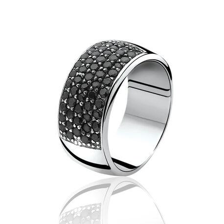 Brede zilveren ring met zwart zirconia ZInzi zir506z