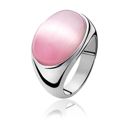 Zilveren ring met roze Cat Eye Zinzi ZIR672