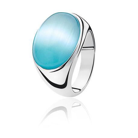 Zilveren ring blauw Cat Eye ZINZI ZIR673