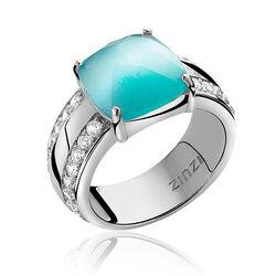 Zinzi ring met grote turkoois zirconia Zir623t