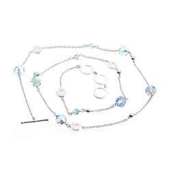 Zilveren ketting blauw kristal zic679 Zinzi