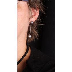 Lange pareloorbellen met grijze parel