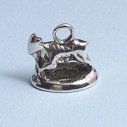 Antiek Zilveren Cachet Koe