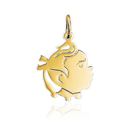 Gouden hanger meisje met staartje en wipneusje