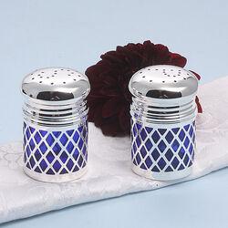 Verzilverd peper en zoutstel met blauw glas reservoir