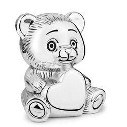 Verzilverde spaarpot beer met hart