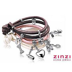 Roze leren armband voor bedels Zinzi ch-a22lr