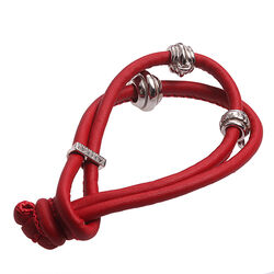 Zinzi Leren Knooparmband Rood Ch-A23r