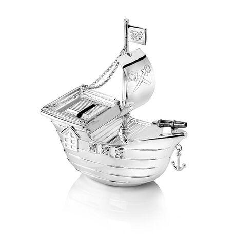 Verzilverde spaarpot piratenboot