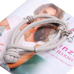 Grijs leren armband voor bedels Zinzi ch-a23g