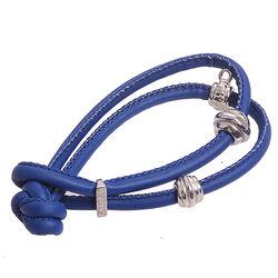 Blauw leren armband voor charms Zinzi ch-a23b