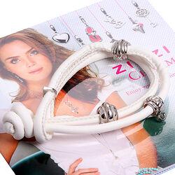 Wit leren armband met zilver donuts Ch-a23w Zinzi
