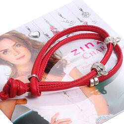 Rood leren armband zilver charmshangers ch-a22r Zinzi