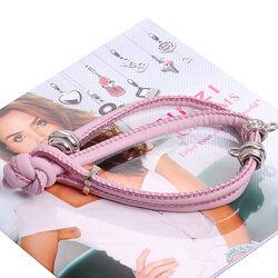 Roze leren armband met zilver donuts ch-23lr zinzi
