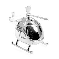 Spaarpot helikopter verzilverd, direct graveren, feestelijk verpakt verzonden