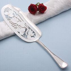 Zilveren visdienschep parelrand 27 cm.