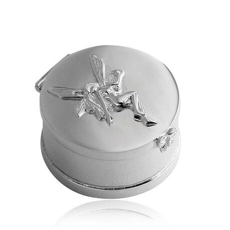 Carrs zilveren tanden doosje met tanden fee en vlindertje graveerbaar