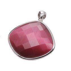 Grote zilveren hanger roze Cat Eye