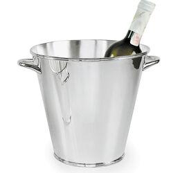 Verzilverde wijnkoeler strak glad met handvatten - Zilver.nl