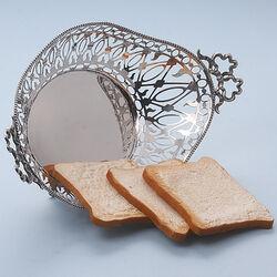 Zilveren broodmand met strikjes antiek