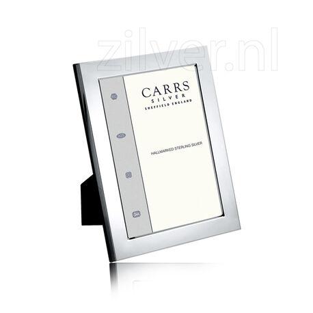 Carrs zilveren fotolijst met glad montuur mahonie houten achterkant