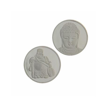 MY iMenso 24mm Zilveren Munt Dubbelzijdig Boeddha 240171