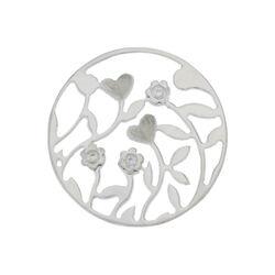Platte insignia hartje bloempje 33 mm 3 zirkonias 330221