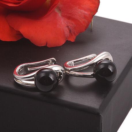 Zilveren oorbellen onyx