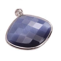 Grote zilveren hanger blauwe cat eye